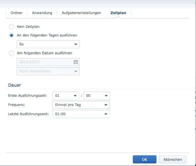 Backup automatisch erstellen - Zeit einstellen