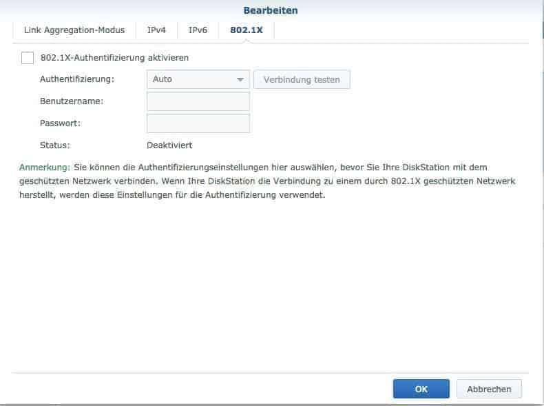 Konfiguration des Netzwerkes: 802.1x Einstellungen
