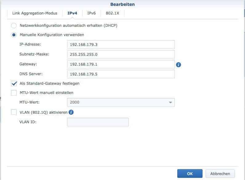 Konfiguration des Netzwerkes: IPv4 Einstellungen