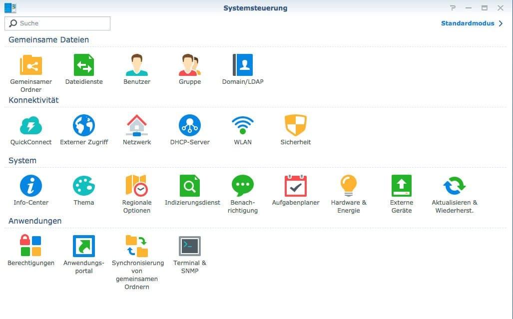 Konfiguration des Netzwerkes: Systemsteuerung