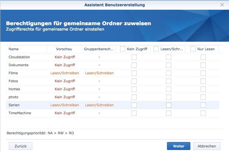 Berechtigungen der Nutzer für einzelne freigegebene Ordner einstellen
