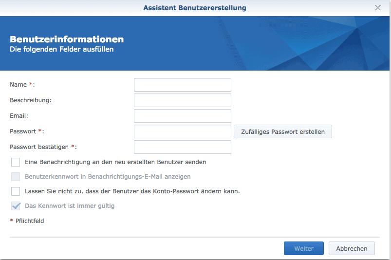 Namen und Passwort eingeben