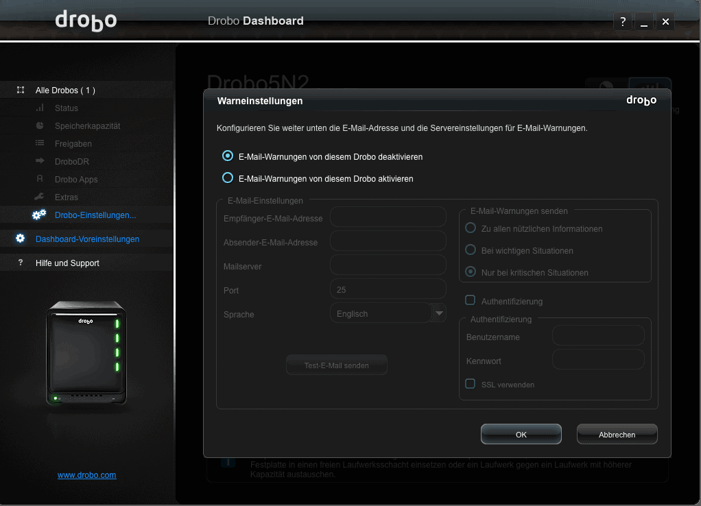 Drobo Dashboard Warnung
