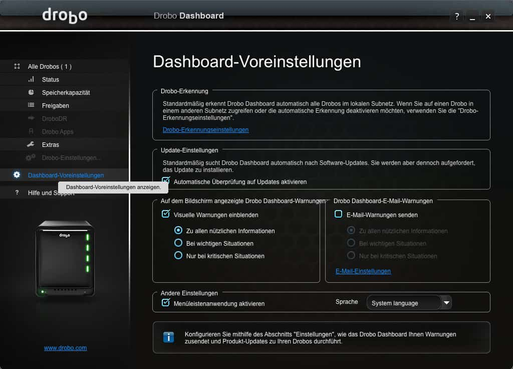 Dashboard Voreinstellungen