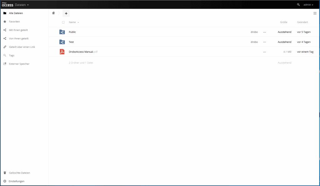 Drobo Access Weboberfläche