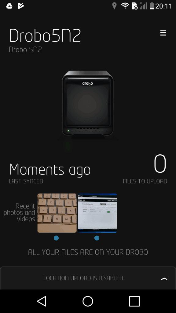 Drobo Pix Android Startseite