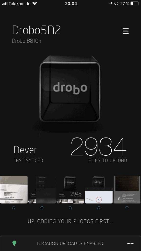 Drobo Pix iOS Startseite