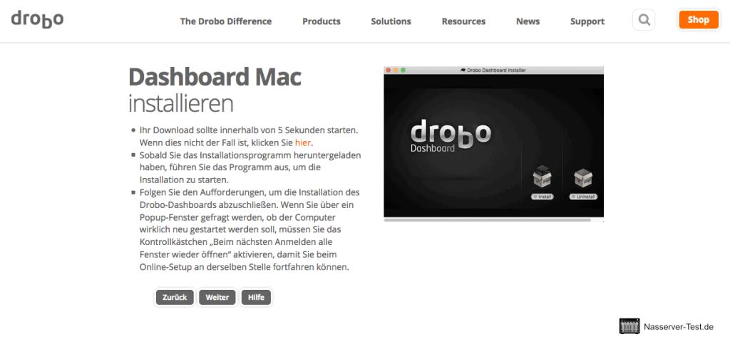 Drobo Assistent Dashboard installieren