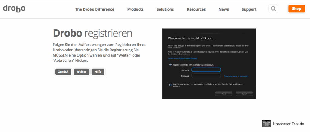 Drobo Assistent NAS registrieren