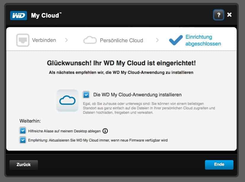 My Cloud Anwendung - Installation Fertig