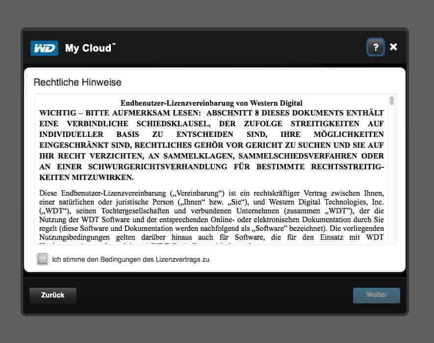WD MyCloud Anwendung Rechtliche Hinweise