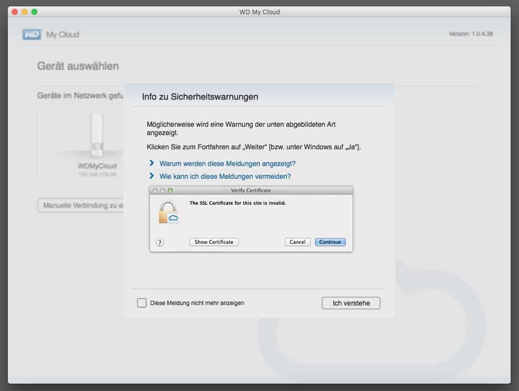 WD MyCloud Anwendung SSL Warnung