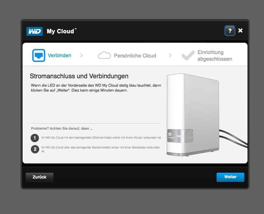 WD MyCloud Anwendung Strom Verbinden