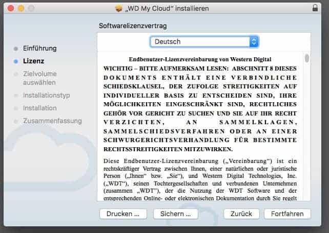 WD MyCloud Anwendung Installer