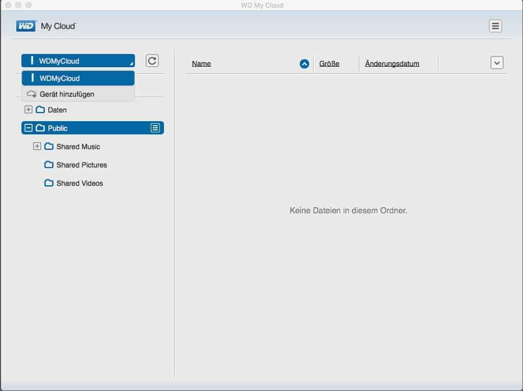 WD MyCloud Anwendung Oberfläche