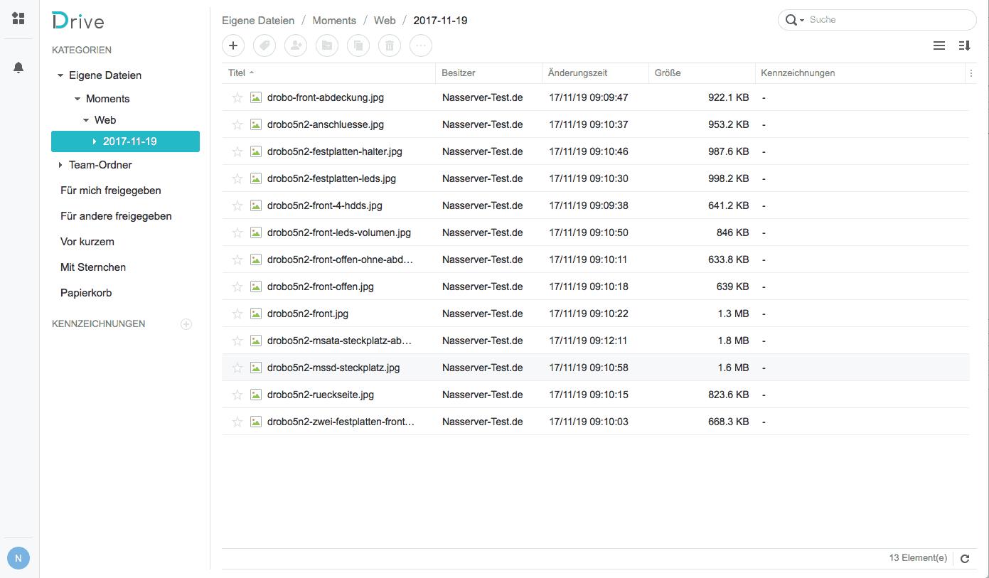 Synology Drive Web Client Listenansicht