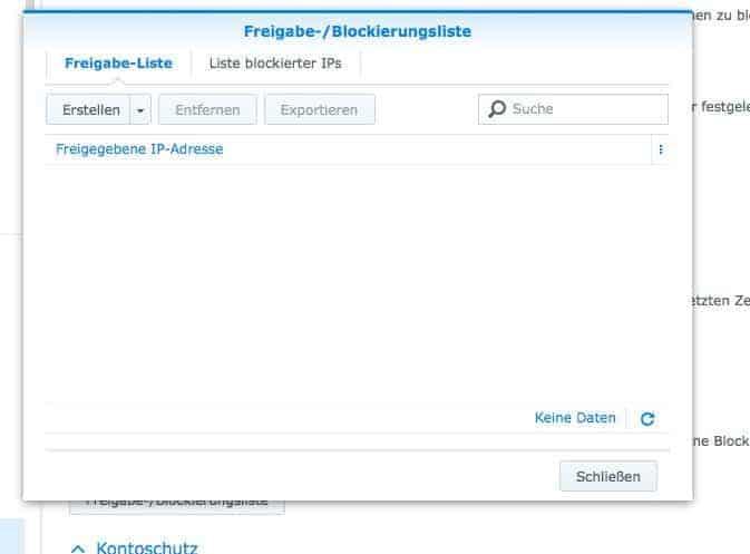 Absicherung des NAS:  Blockierliste Teil 1