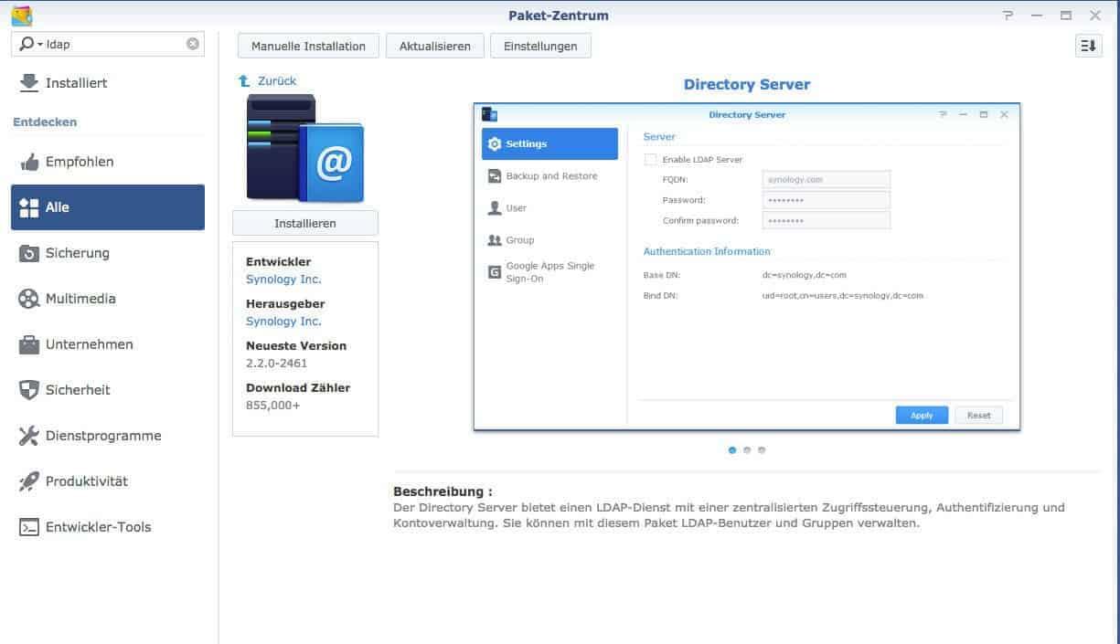 Beitritt zu Domänen und LDAP-Diensten - Directory Server installieren