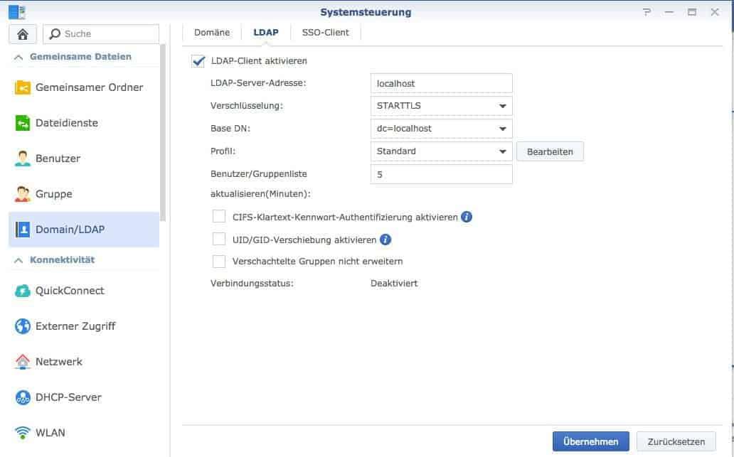 Beitritt zu Domänen und LDAP-Diensten - LDAP ausgefüllt