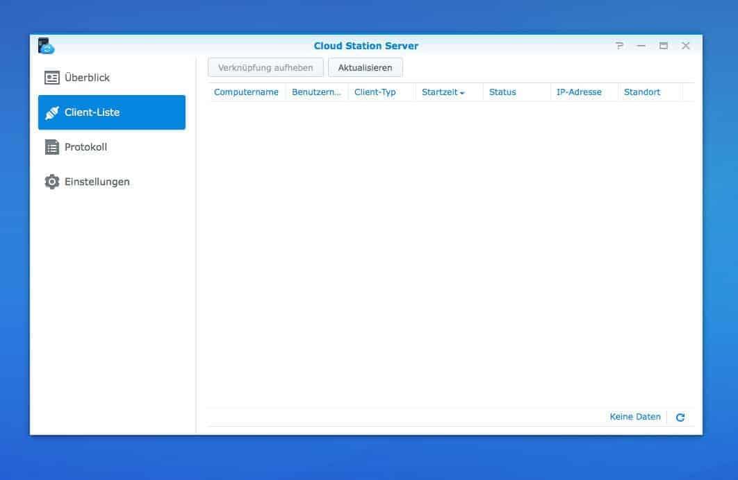 Einrichten einer NAS Cloud:  Cloud Station Server Client Liste