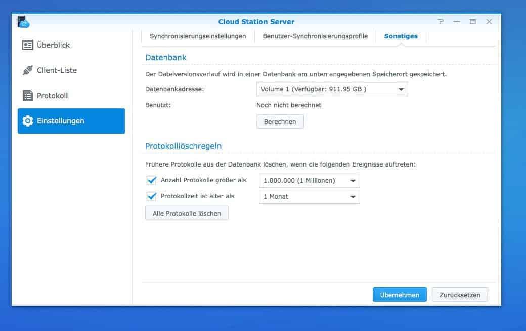 Einrichten einer NAS Cloud:  Cloud Station Server Sonstige Einstellungen