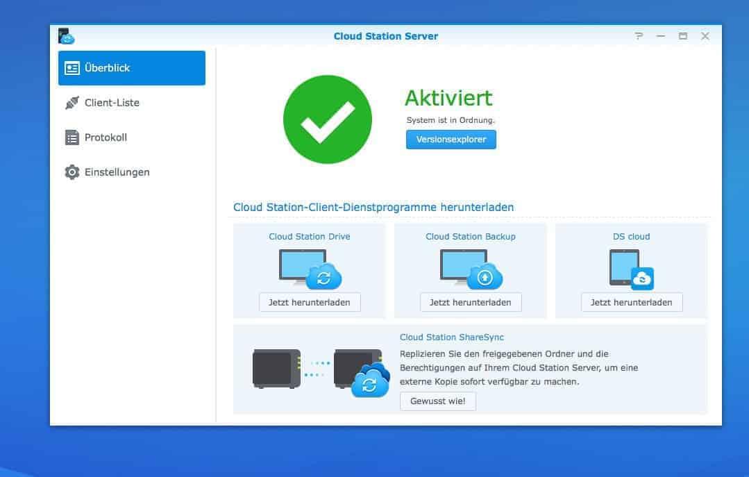 Einrichten einer NAS Cloud:  Cloud Station Server
