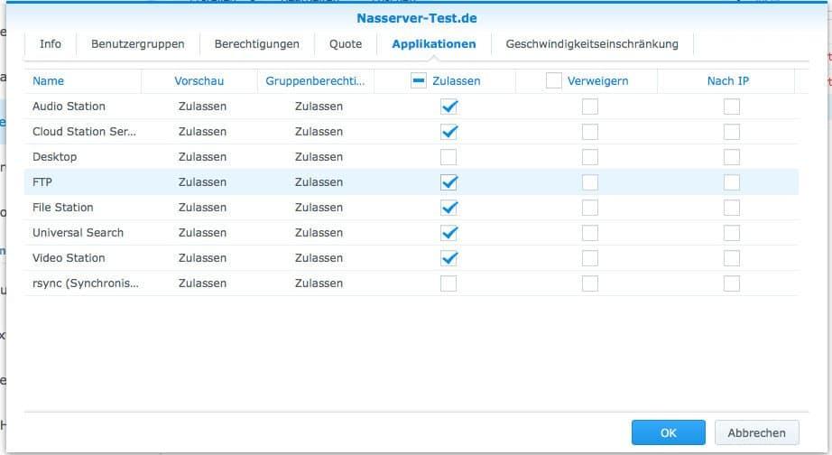 Einrichten eines FTP:  Berechtigungen Applikationen
