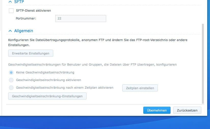 Einrichten eines FTP:  Allgemeine Einstellungen
