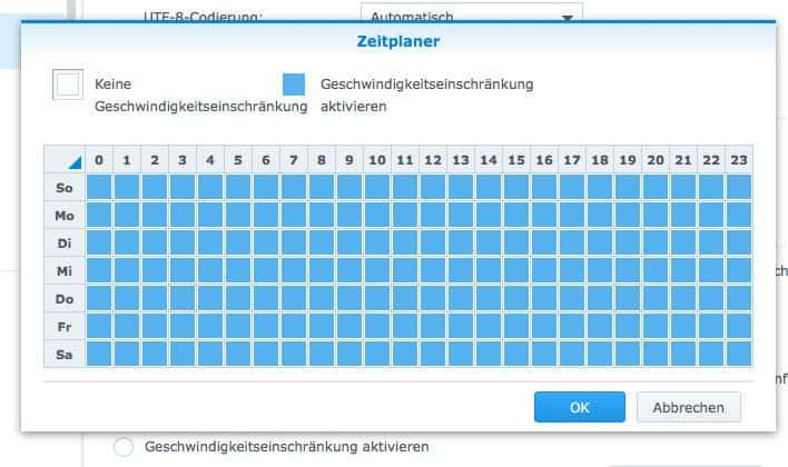Einrichten eines FTP:  Geschwindigkeitseinstellungen nach Zeitplan