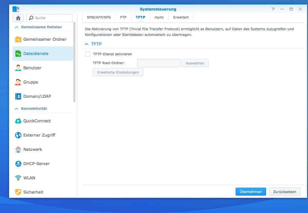 Einrichten eines FTP:  TFTP Einstellungen