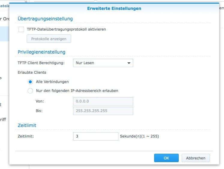 Einrichten eines FTP:  Erweiterte Einstellungen