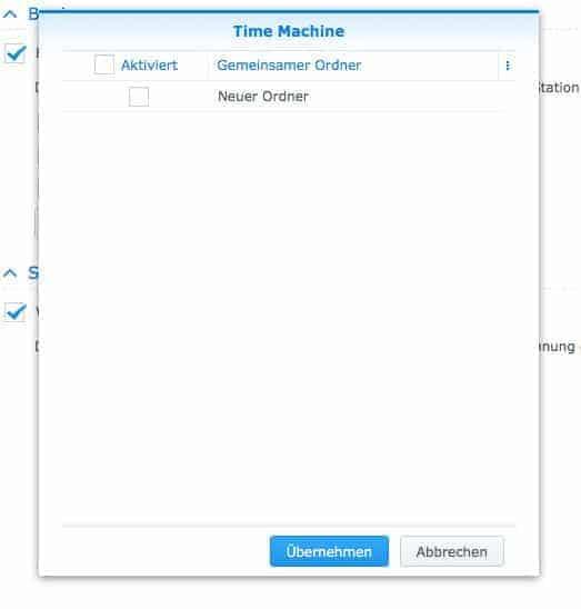 Einrichtung der Netzwerkfreigaben: Time Machine Ordner