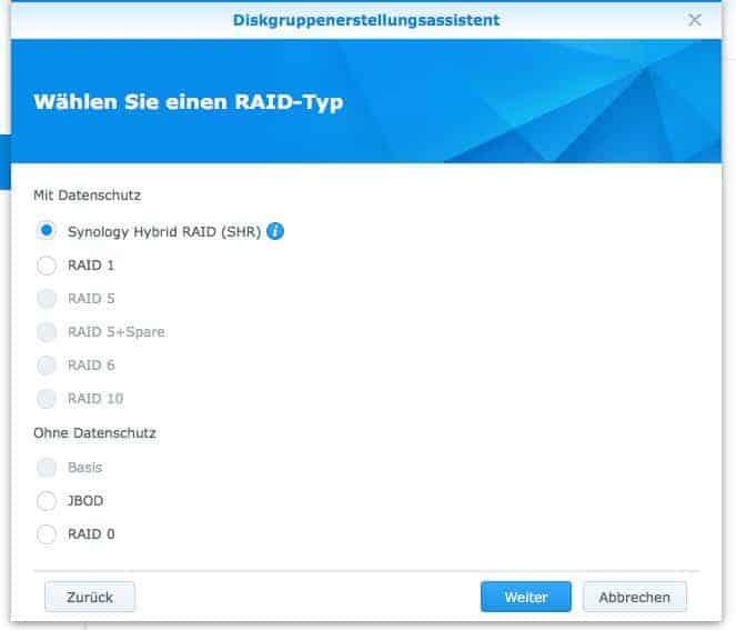 Einrichtung eines Raids: RAID Typen