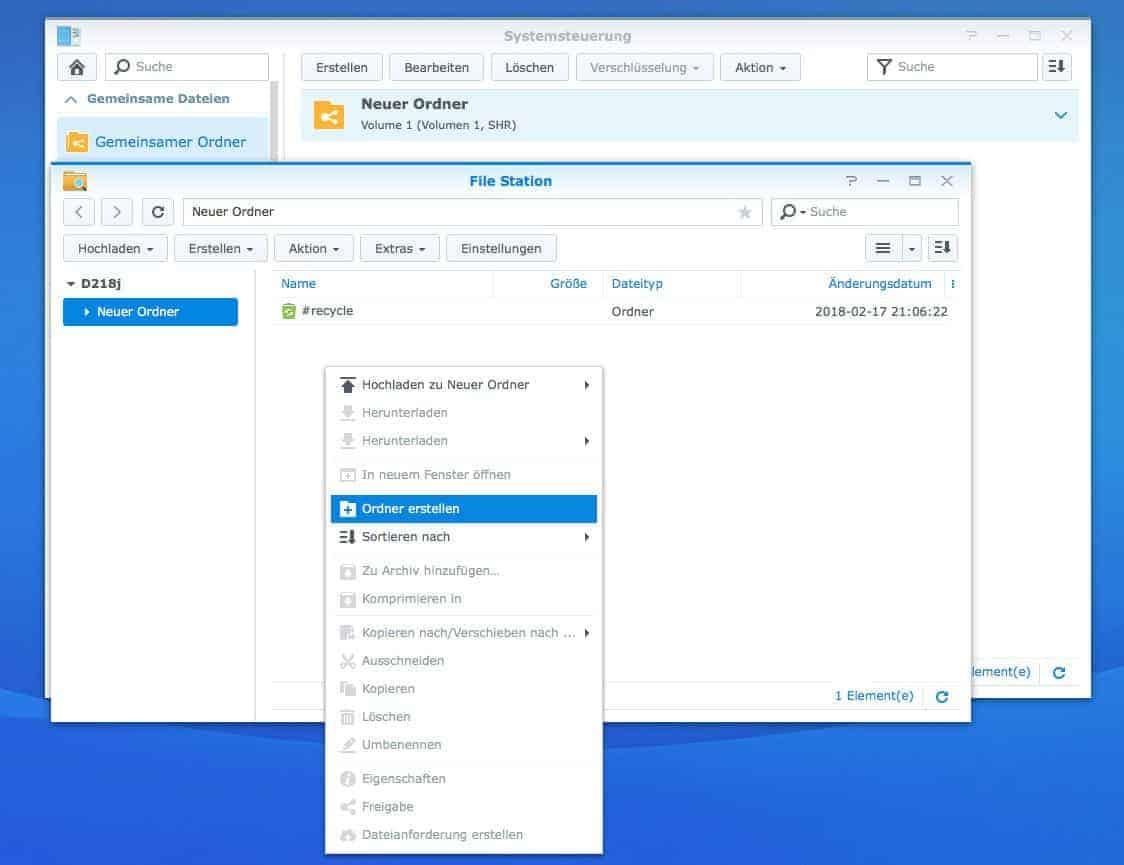Gemeinsame Ordner: Filestation Ordner anlegen