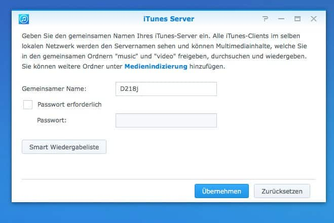NAS Musikstreaming - iTunes Server