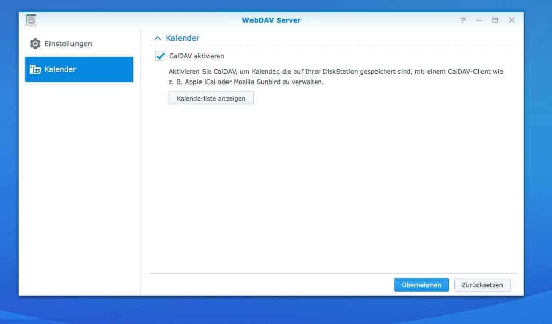 NAS Server CalDAV einrichten - Kalender aktivieren