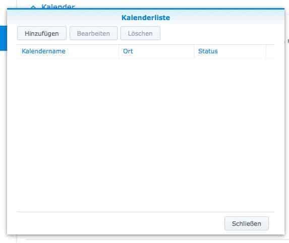 NAS Server CalDAV einrichten - Kalenderliste