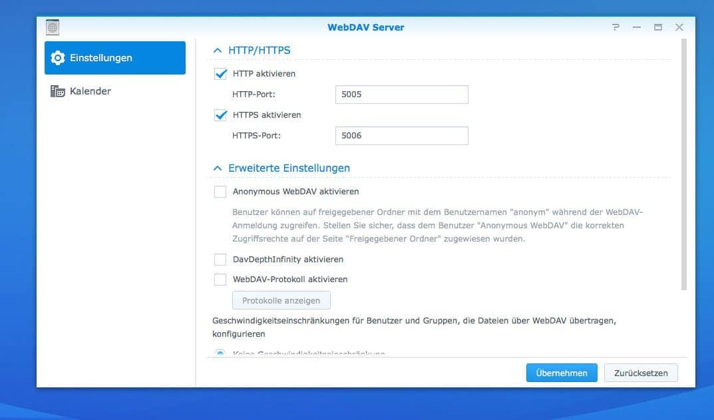 NAS Server CalDAV einrichten - WebDAV Einstellungen