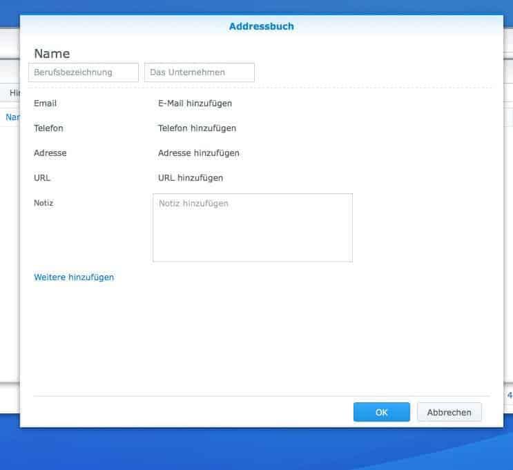 NAS CardDAV Server einrichten - Adressbucheintrag