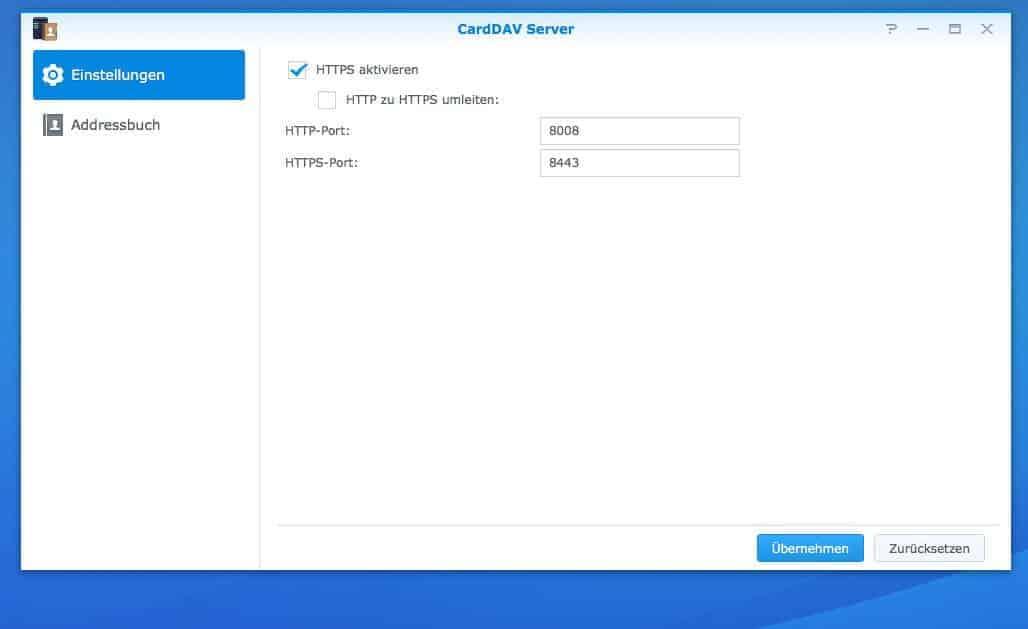 NAS CardDAV Server einrichten - Einstellungen