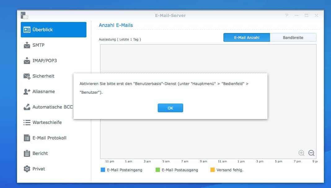 NAS Mail Server einrichten - Einstellungen