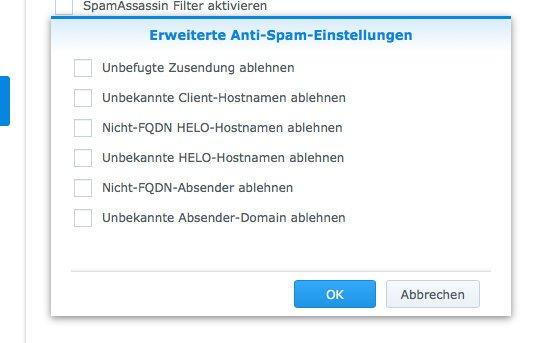 NAS Mail Server einrichten - erweiterte Spam Einstellungen