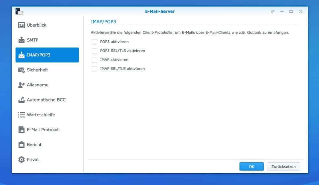 NAS Mail Server einrichten - IMAP/POP3 Einstellungen