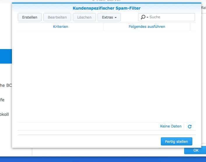 NAS Mail Server einrichten - kundenspezifischer Spam Einstellungen