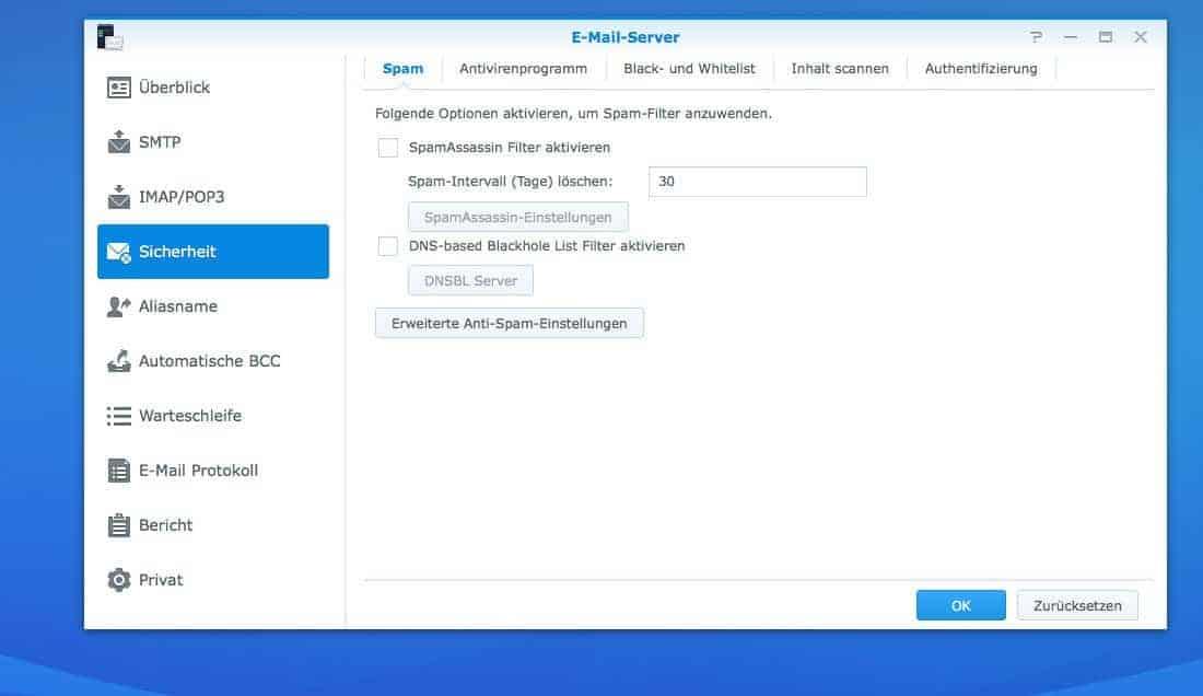 NAS Mail Server einrichten - Spam Einstellungen