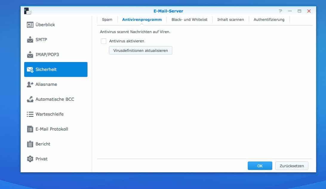 NAS Mail Server einrichten - Sicherheitseinstellungen