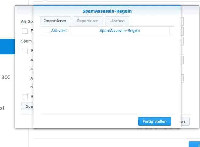 NAS Mail Server einrichten - Spamassasin Regeln