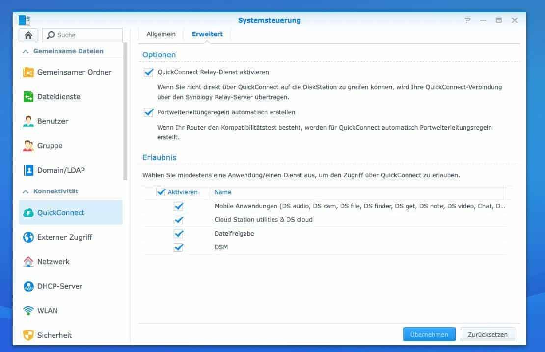NAS Fernzugriff einrichten - Quickconnect, erweiterte Einstellungen