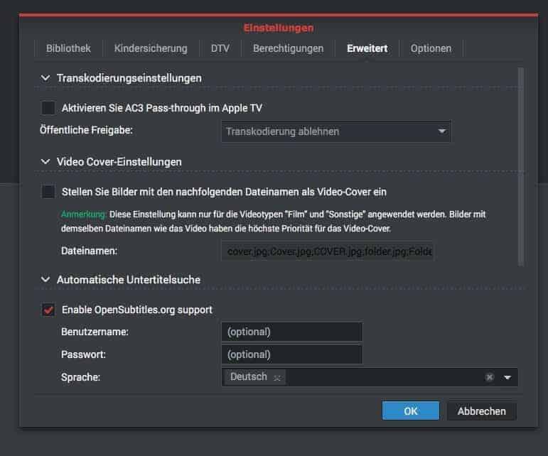 NAS Filmstreaming : Videostation, erweiterte Einstellungen